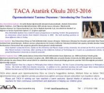 TACA Atatürk Okulu – 2015-2016 Öğretmen Duyurusu / Teacher Announcement